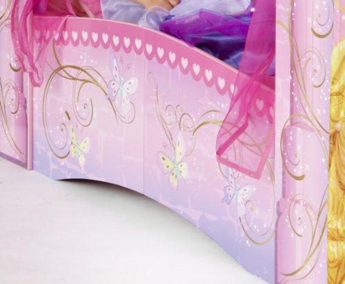 Worlds Apart 864219 Classique Lit pour Enfant Disney Princesses en Forme de Château Bois MDF Rose 142,50 x 76,50 x 190 cm