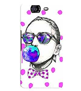 printtech girl with Bubble Gum Back Case Cover for Micromax Canvas Knight A350