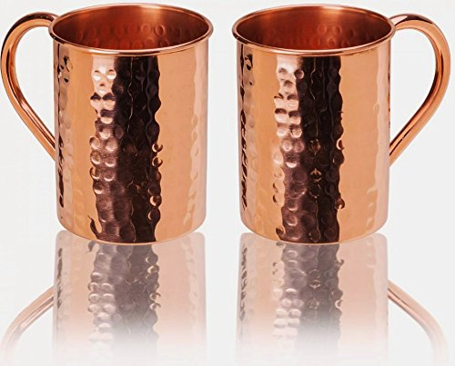 23oz. Jumbo Moscow Mule Hammered Copper Mugs - Set of 2 - 100% Solid Copper - Keskov Authentic - Large -No Rivets - No Inner Lining - Dimpled Tall Handcrafted Mug (12 Cup Water Pitcher compare prices)