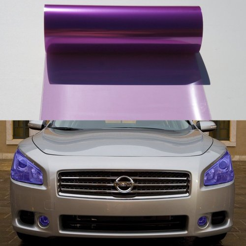 12 By 48 Inches Self Adhesive Headlight, Tail Lights, Fog Lights Tint Vinyl Film (12 X 48, Purple)