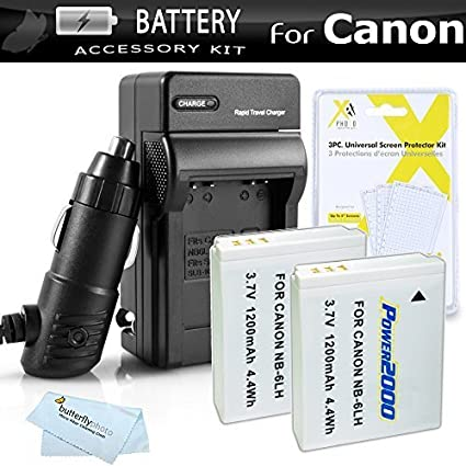 2-Pack-Battery-And-Charger-Kit-For-Canon-PowerShot-SX260-HS-SX260HS-Canon-SX280-HS-SX280HS-SX500-IS-SX510-HS-SX510HS-SX170-IS-S120-SX600-HS-SX700-HS-D30-Digital-Camera-Includes-2-Extended-Replacement-(1200Mah)-NB-6L-Batteries-+-Ac/Dc-Charger-++