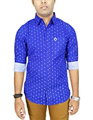 AA' Southbay Men's Royal Blue 100% Premium Cotton Printed Long Sleeve Casual Shirt