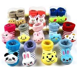 3 Pair LOCOMO Baby Infant Toddler Boy Girl 3D Cartoon Animal Unisex Socks Slippers Shoes / 0-6 Months / Size 7-9 cm / FBA014