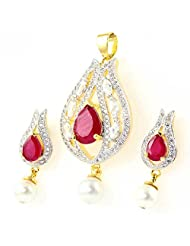 SUPERSHINE GOLD PLATED PENDANT EARRINGS SET FASHION JEWELRY WITH RED LOOK RUBY STONE & AMERICAN DIAMONDS 11362RUG...