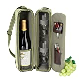 Picnic at Ascot - Deluxe Insulated Wine Tote with 2 Wine Glasses, Napkins and Corkscrew - Olive Green
