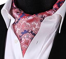 SetSense Men\'s Floral Paisley Jacquard Woven Self Cravat Tie Ascot One Size Pink / Blue