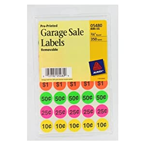 Avery Preprinted Removable Garage Sale Labels,  0.75 Inches, Round, Pack of 350 (5480)