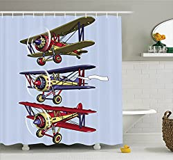 Ambesonne Airplane Decor Collection, Three Biplanes Flies on a Background of Sky Ink Paint Old Fashioned Model Higher Travel Image, Polyester Fabric Bathroom Shower Curtain Set with Hooks, Blue