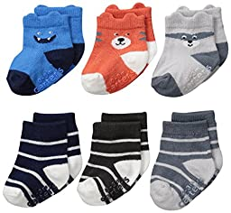 Carter\'s Baby-Boys Character Face Socks, Multi, 12-24/Medium Months (Pack of 6)