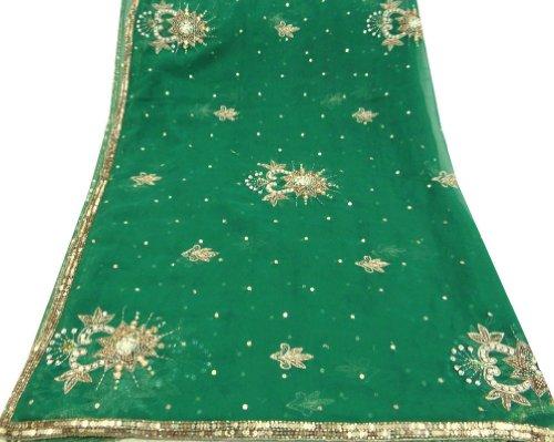 tessuto vintage lungo donne avvolgere la testa a mano sciarpa di perline verde georgette tessuto artigianale decorazioni per la casa sciarpe Dupatta hijab rubato velo arte