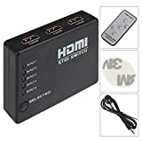 Simple vsky®HDMI 5 Port Switch Superb Quality Full HD 1080p HUB HDMI v1.3b (Latest) 2.5Gbps HD-DVD PS3 Xbox360 Blu-Ray Audio & Video 3 x Input 1 x Output Ultra High Performance--Factory Seller
