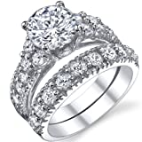 Solid Sterling Silver 925 Engagement Ring Set Bridal Rings with High Quality Cubic Zirconia Sizes 4 to 11