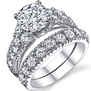Solid Sterling Silver 925 Engagement Ring Set Bridal Rings with High Quality Cubic Zirconia Size 9