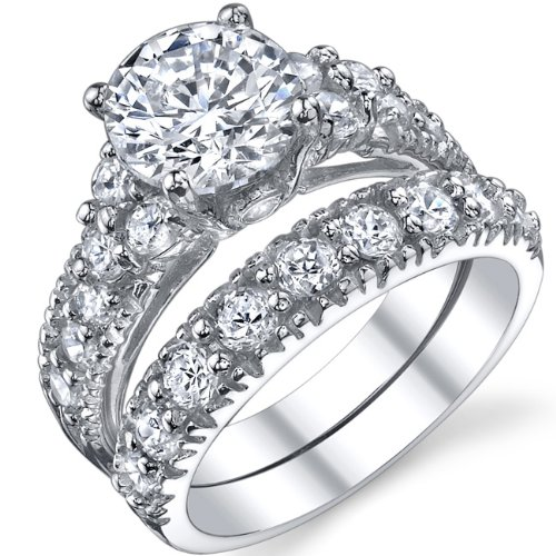 solid sterling silver 925 engagement ring set bridal rings
