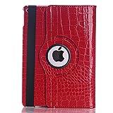 iPad air2 ケース iPad air2 クロコ柄 カバー アイパッドエアー2 レザーケース ipad air2 カバー アイパッド エアー2 スタンド機能付き 手帳型ケース 横開き Apple ipad air2 (レッド)