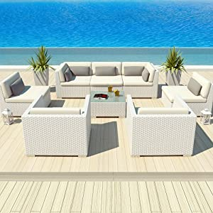 Uduka Outdoor Patio Furniture White Wicker Set Daly 8 Off White