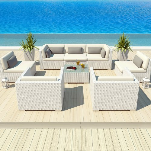 Uduka Outdoor Patio Furniture White Wicker Set Daly 8 Off White All Weather Couch image
