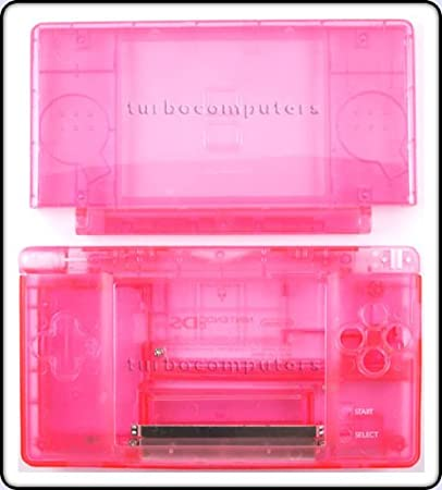 Crystal Pink - Nintendo DS Lite Complete Full Housing Shell Case Replacement Repair w/ Hinge Set