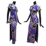 ■上品な和花柄♪半袖チャイナドレスLong紫ラメ入/jc79