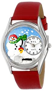 Whimsical Watches Women's S1220004 Christmas Snowman Red Leather Watch