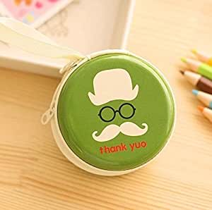 Generic Green Tin Cool Mustache Pouch For Earphone Pouch Case Coins Pouch,Memory Card Pendrive Pouch Bag Case Pouch Wallet