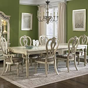 Messina Estates II 7 Piece Dining Set in Antique Ivory Finish: Antique Ivory
