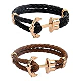 Couples Anchor Bracelet Men Cuff Leather Bracelet For Women Black