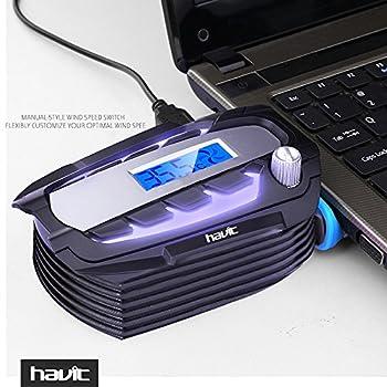 HAVIT USB真空タービン ノートパソコンUSBクーラー 液晶設計 デジタルの温度計 HV-F2061