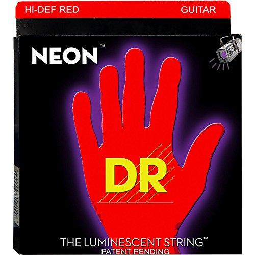 Dr Strings Hi-Def Neon Red Coated Lite-Heavy (9-46) Electric Guitar Strings