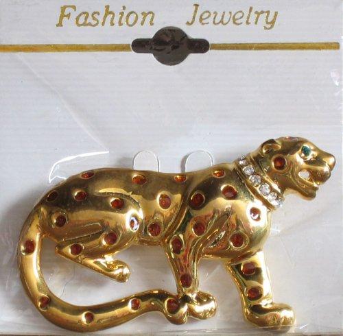 Fashion BROOCH PIN: LEOPARD Gold Tone & Enamel PIN w Crystals