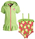 Wippette Baby Girls One Piece Swimsuit and Terry Hooded Coverup Beach Set
