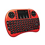 Rii i8+ Mini Wireless 2.4G Back Light Touchpad Keyboard with Mouse for PC/Mac/Android (Red) (Color: red)