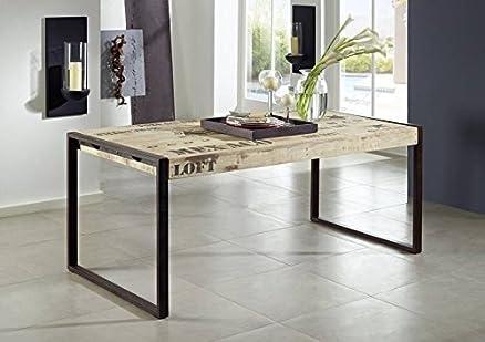 Tavolo Stile Industriale : Solido completo mobili mango legno ferro stampata tavolo da pranzo