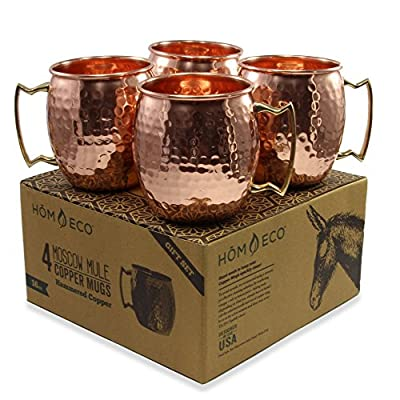Copper Mugs Moscow Mule(Pack of 4), Solid Copper No Nickel Lining, Hammered Finish from HomEco