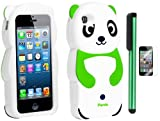 Neon Green White Smile Panda Silicone Jelly Skin Premium Design Protector Soft Cover Case Compatible for Apple Iphone 5 (AT&T, VERIZON, SPRINT) + Screen Protector Film + Combination 1 of New Metal Stylus Touch Screen Pen (4