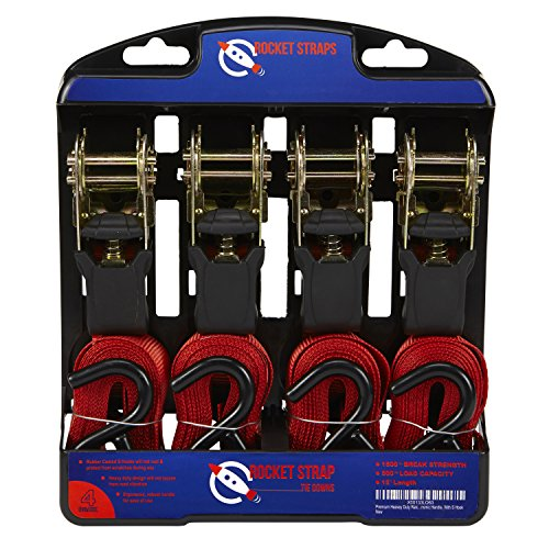 Rocket Straps - Premium Ratchet Tie Downs 4 Pack - 15 Feet - 1500 Pound - Heavy Duty Ratcheting Hold Down Motorcycle, ATV, Moving Appliances, Camping, Lawn Equipment and Truck Use - Secure Your Cargo (Bed Truck Straps compare prices)