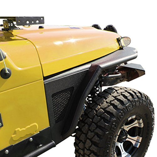 E-Autogrilles Jeep Wrangler TJ Textured Black Tube Front Fender Flares with Stainless Steel Mesh