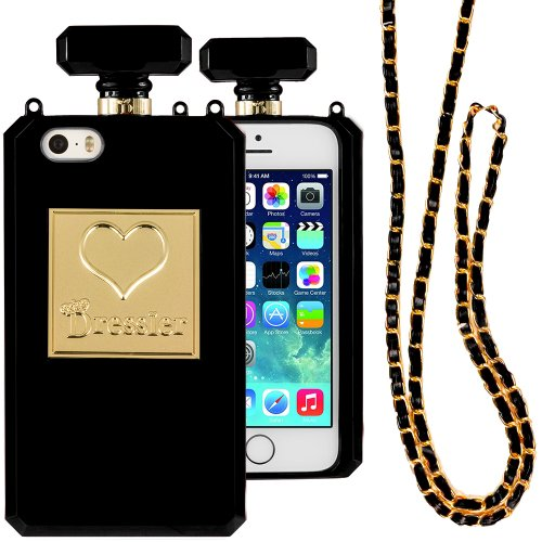 Dressier 5S Perfume Bottle Case With Chain For Iphone 5/5S - Black