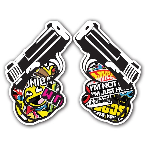 pistol-sticker-bomb-decal-cartoon-series-stilizzati-car-wrap-laptop-jdm-skateboard-snowboard-vinyl-i