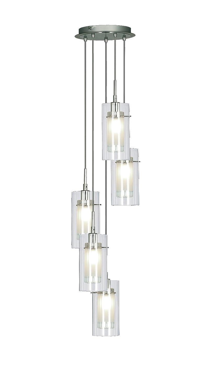 Houseoflights Deckenlampe/Deckenleuchte mit 5 Gehängen, modern, Chrom/Glas