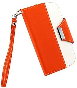 Gearonic PU Leather Flip Fashion Wallet Stand Case Card Holder Magnetic Flip Cover for Samsung Galaxy S4/S IV i9500 - Non-Retail Packaging - Orange