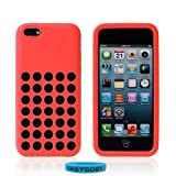Topideal Circle Colors - Dots Holes Design Silicon Rubber Gel Soft Flexible Protective Case Cover Accessories for Apple iphone 5C - Red