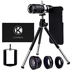 Camera Lens Kit for Apple iPhone 6 / 6S incl. 12x Telephoto Lens, Fisheye Lens, Macro Lens, Wide Angle Lens, Tripod, Phone Holder, Holder Ring, Hard Case, Bag and Cleaning Cloth
