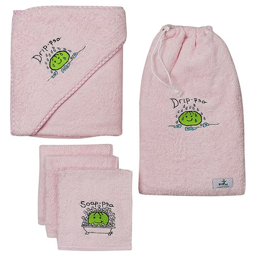 PodT Peaple Drip-Pea and Soap-Pea Hooded Towel and Wash Cloth Set - Pink