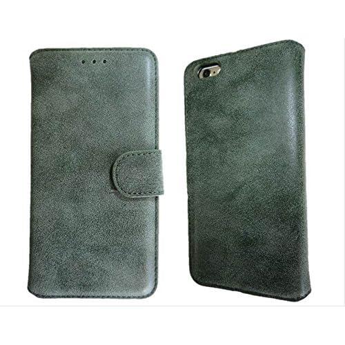 [ ELEFANG ] スウェード調 シンプル デザイン ♪ 【 iPhone6 プラス 専用 スマホ ケース 】スタンド機能付き (オリーブグリーン)