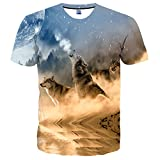 EOWJEED Unisex Stylish Casual Design 3D Colored Print Short Sleeve T Shirts Tees - XX Large