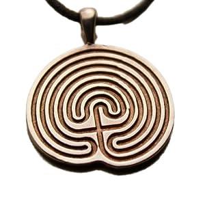 Minoan Labyrinth Peace Bronze Pendant Necklace on Adjustable Natural Fiber Cord