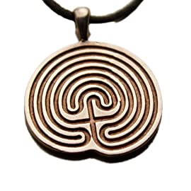 Minoan Labyrinth Peace Bronze Pendant Necklace on Adjustable Natural Fiber Cord