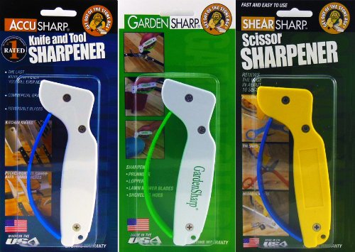 Accusharp Original / Scissorsharp / Gardensharp Sharpener Combo Pack