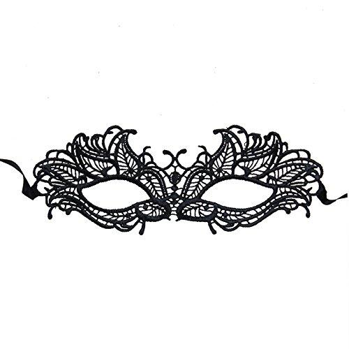 [Nati Women's Venetian Masquerade Lace Mask Party Costume Color Black] (Black Lace Masquerade Masks)